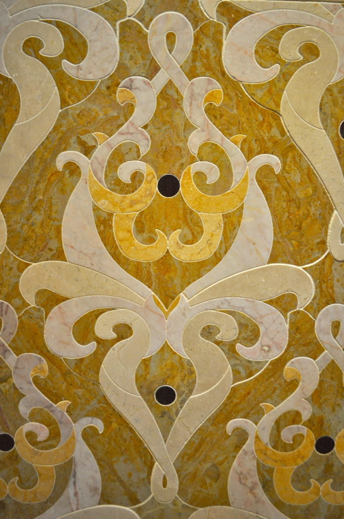 Custom Marble Inlay Sorensen Ornate Detail Close View ENSO