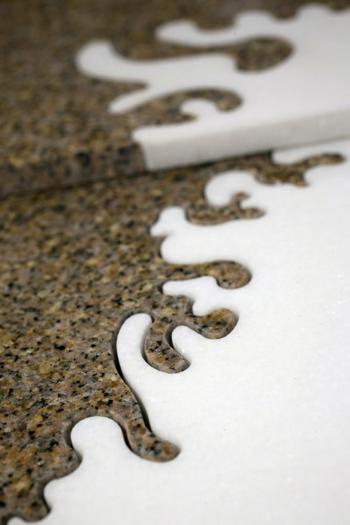 Custom Intricate Marble Inlay Tan and White ENSO