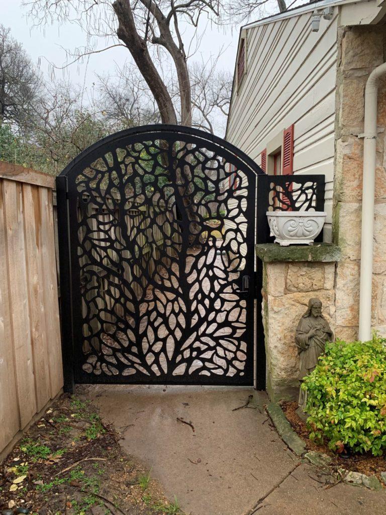 Metal Gate Botanical Design Installed ENSO