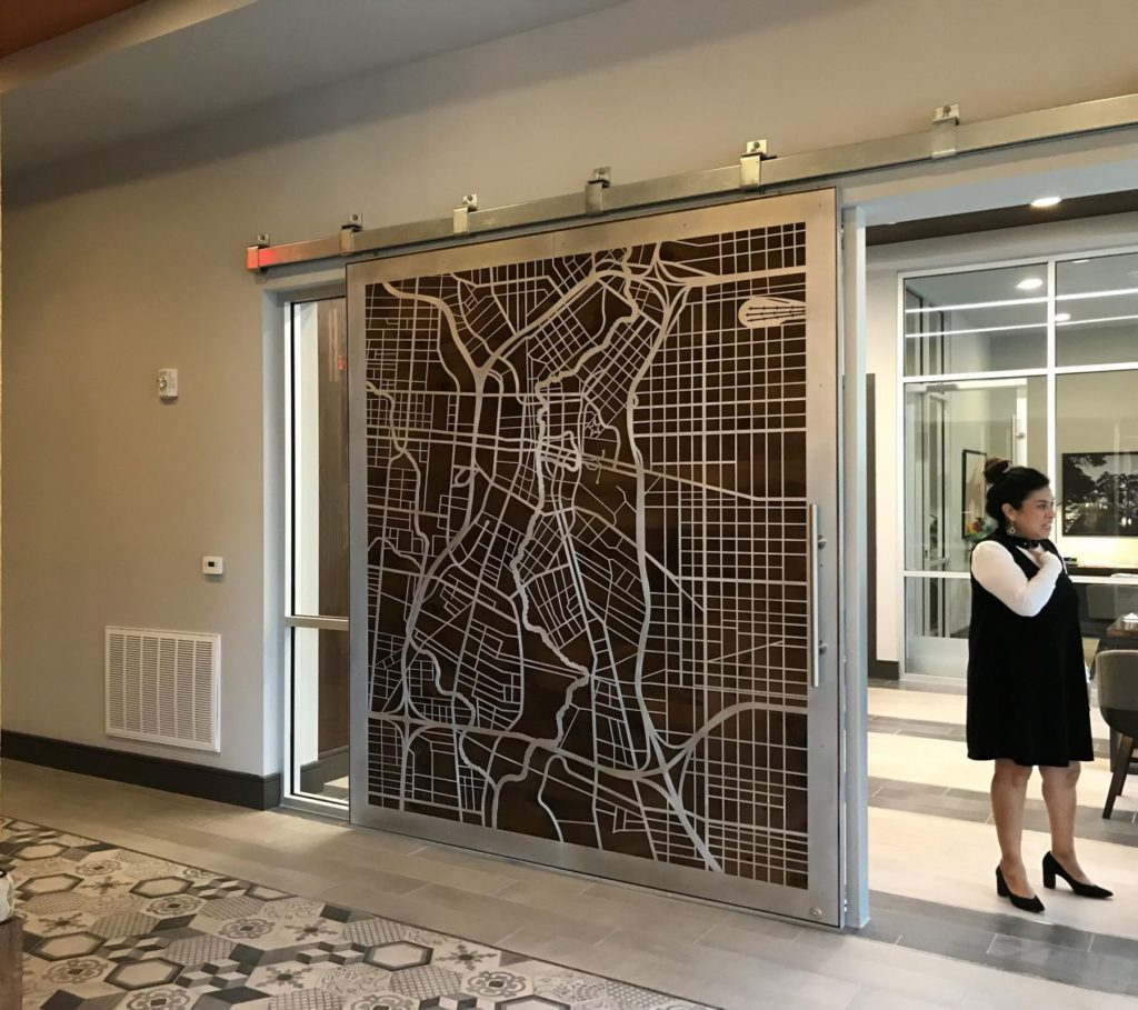 Sliding Door City Map Installed Railing ENSO