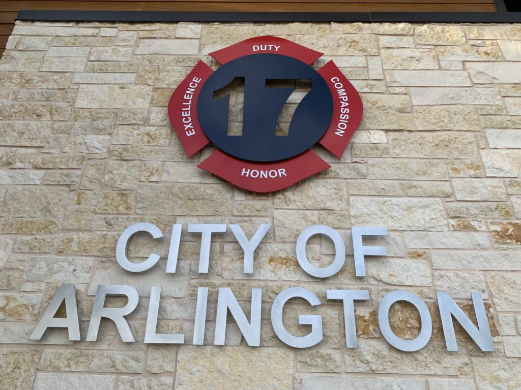Metal Signage Fire Station 17 City of Arlington ENSO