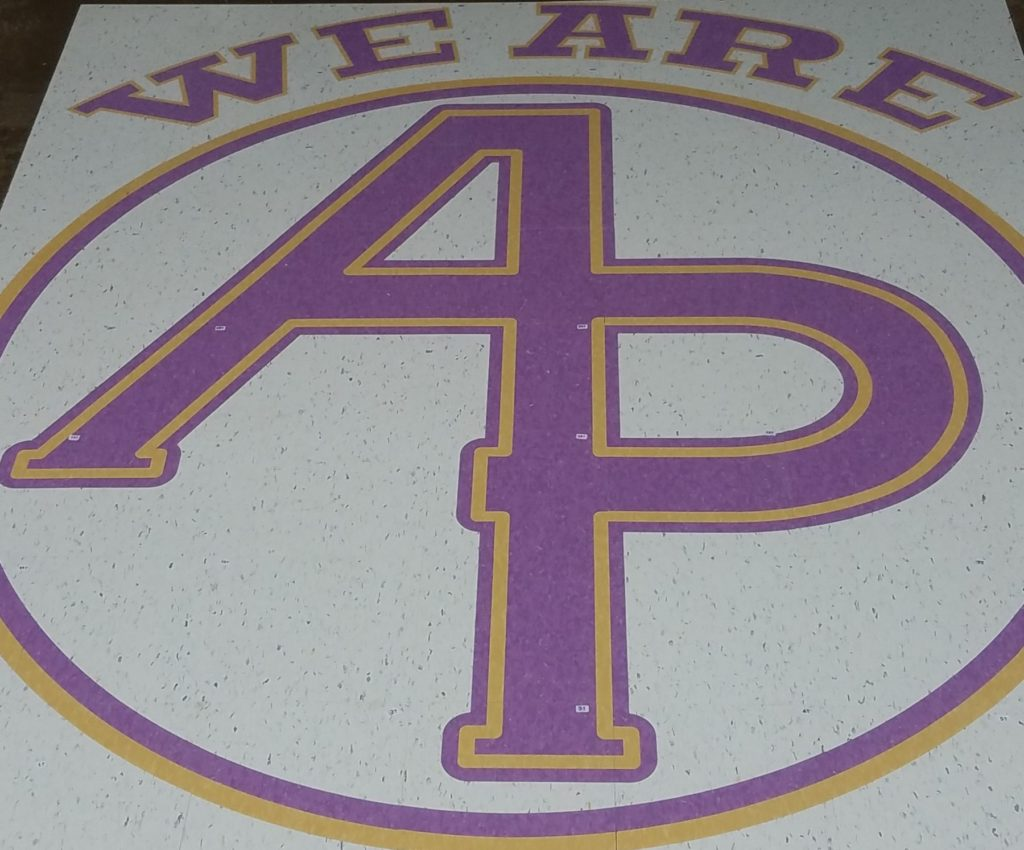 VCT Floor Medallion We Are AP School Logo ENSO