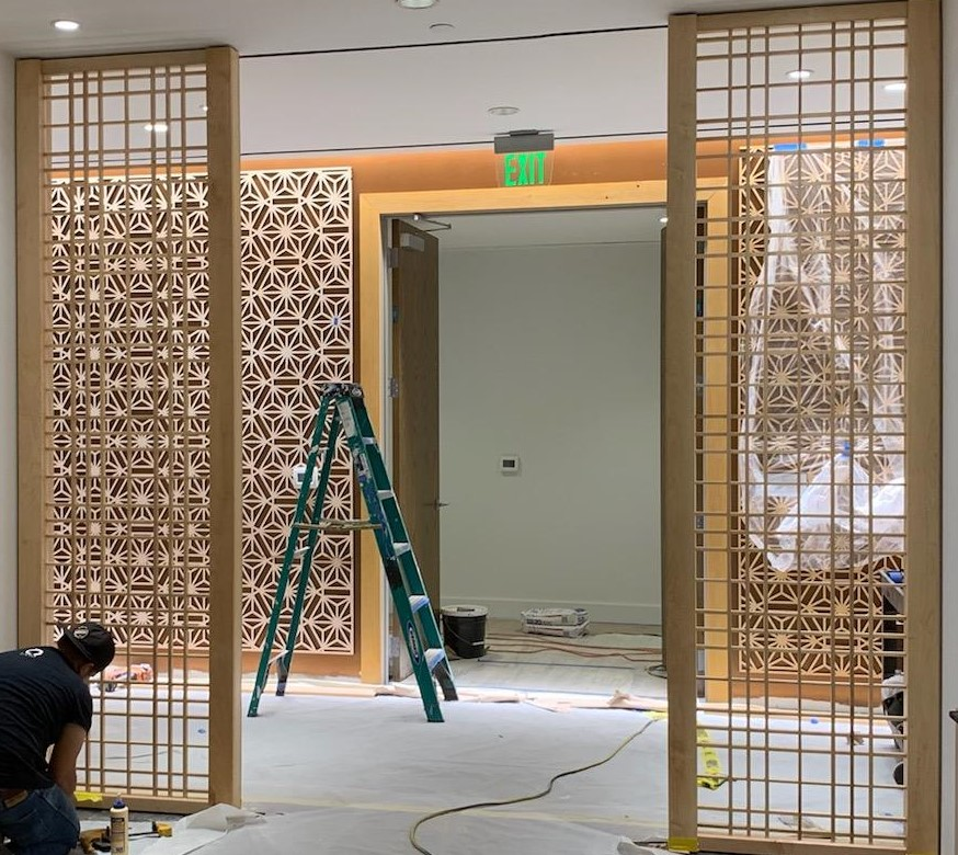 Custom Japanese Wood Screens Millwork Installation ENSO